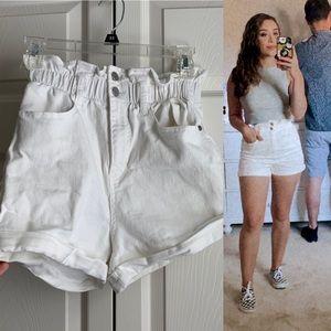 White Highwaisted Shorts